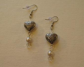 Antique silver heart earrings