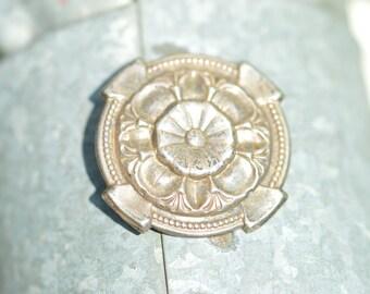Sterling Silver Vintage Circular Flower Pin 32x32 - 4.6g - ES 252