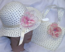 Cream Spring Easter Hat Bonnet with Pink Flower and Matching Purse