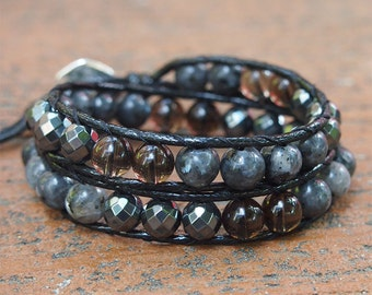 2 times wrap bracelet, Labradolite, Hematie, Smoky quartz