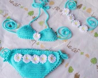 Daisy beach set,Crochet baby bikini and headband,swimsuit,baby bikini,toddler bikini,baby swimsuit,cute swimsuit,summer baby,swimwear baby