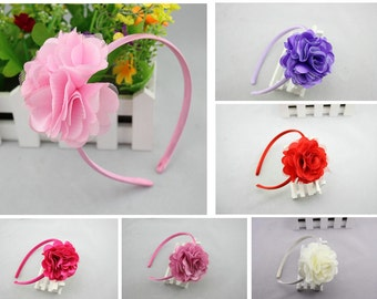 Baby Girl Headband Mesh Flower Hair Band White Pink Free Postage