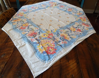 Tablecloth: Red, Yellow & Blue Floral