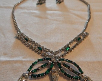 Green and Clear Rhinestone Necklace & Earrings