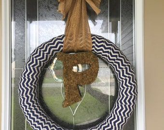 Chevron Initial Wreath