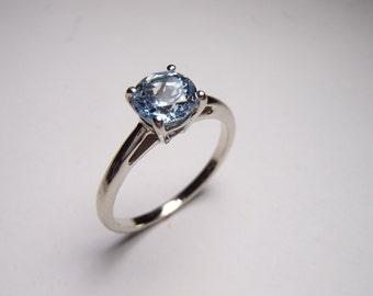 14k White Gold Sky Blue Topaz Solitaire Ring Size 6.5 Women's Pomise Engagement Ring