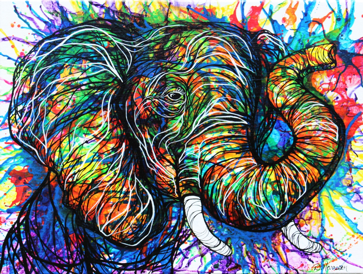 Abstract Colorful Elephant Art Original by DHarrisonPaintings