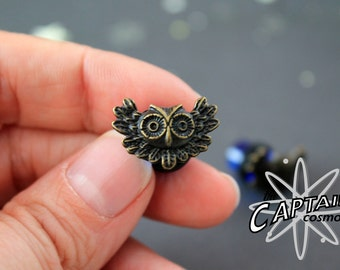 Brass owl plugs 8mm 0g gauges stretched ears Gothic kawaii