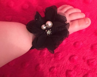 Little Black Dress Baby Barefoot Sandals