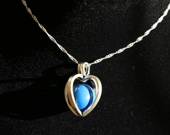 """Gentle Chime Heart Pendant with Multiple Color Options in 925 Sterling Silver With 18"""" or 22"""" Sterling Silver Chain"""