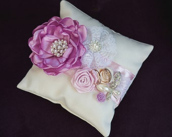 Bridal Pillow Lilac and ivory\Ring pillow