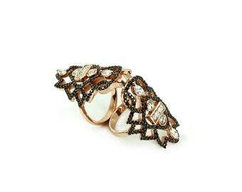 925 Silver Handmade Full Finger Bending Ring Free Shipping