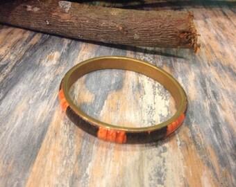 Antique Orange and Brown Bangle Bracelet