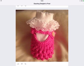 Beautiful hand knitted baby girls shoes