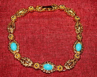 FREE SHIPPING: Vintage Handmade Yellow Gold Filled 14K Three Turquoise Agate Gemstones  Bracelet,220*12mm Circa 1970's
