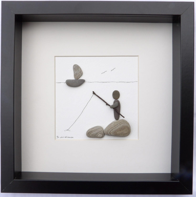 Scottish Pebble Art Picture: Beach Fisherman