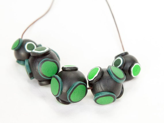 Funky necklace, necklace, jewellery, polymer clay, bib necklace, unique, bold, leather cord, chunky, green, ooak, planets, one of a kind