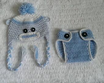 Crochet sock monkey hat, handmade, baby boy, sock monkey photo prop