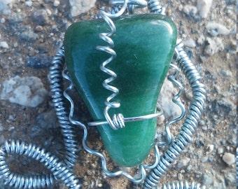 wire wrapped green Aventurine pendant