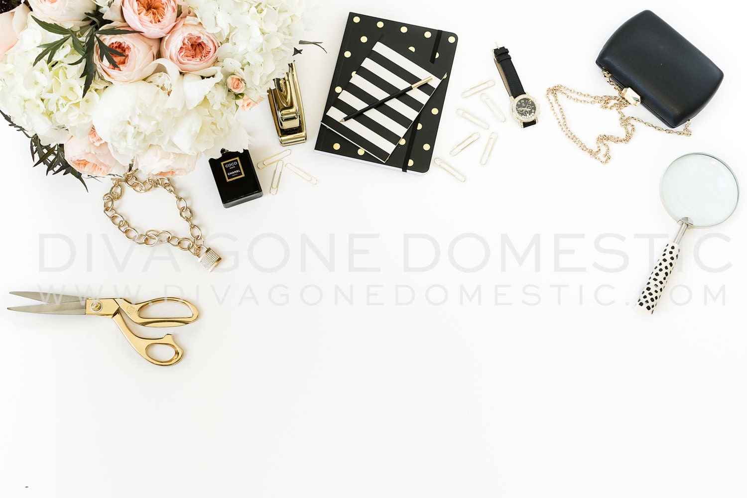 Styled Stock Photo Romantic Blush Pink And Gold Styled Desk