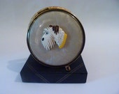 Rare celluloid 1940s Scotty dog boxed powder compact dog powder compacts compact with terriers UNUSED compact mirrors Art Deco compacts