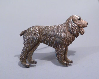 Antique silver gifts SPANIEL brooch pin sterling silver jewelry jewellery gifts for dog lovers solid silver wedding gifts