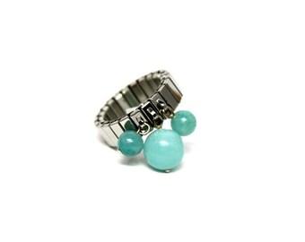 Ring adjustable steel beads Amazonite