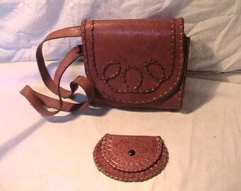 Vintage 1970's Handmade Brown Leather Handbag Shoulder Bag with Wallet - NEW