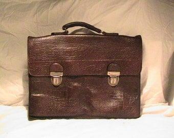 Vintage1960's Dark Brown Leather Legal / Business Bag - Hand Briefcase