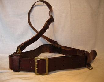 Vintage 1960's Army Officer Red Leather Belt with Shoulder Belt