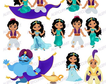 Desert Princess , Clip Art - Aladdin - Fairy Tale Clipart for personal and commercial use. Desert Princess Digital Clipart