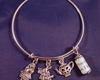 Alice's Adventures in Wonderland Recycled Book Page Wire Charm Bracelet