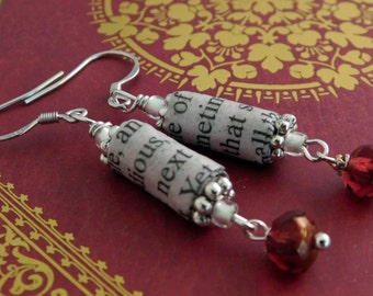 The Scarlet Letter Book Page Earrings