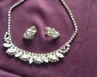 Vintage rhinstone necklace and matching earrings