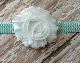 Large White Shabby Flower Headband