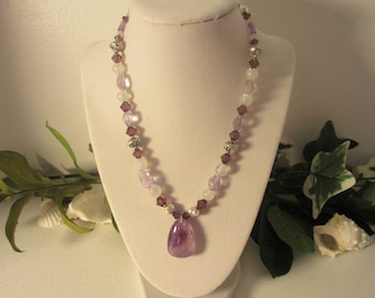 Amethyst, Moonstone, Swarovski Crystal and Sterling Silver Pendant