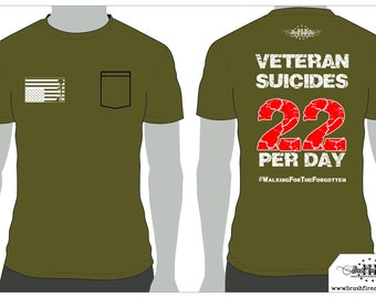 SALE! Veteran Suicide Pocket T, Distress Flag Logo. Two dollars of every sale goes to help veterans with PTSD