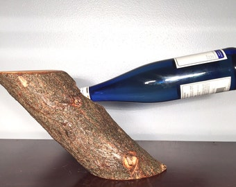 Gravity Balanced Natural Tree Wood Wine Bottle Holder