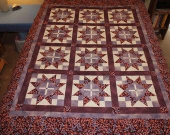 Purple Star Quilt (Twin or Narrow Double)