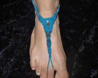 Blue Handmade Macrame Barfoot Sandal
