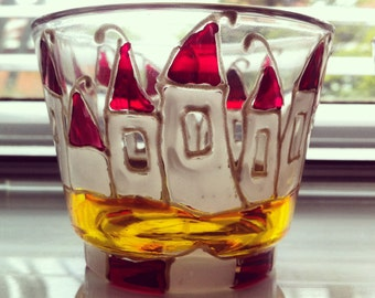 Hand painted glass candle holders