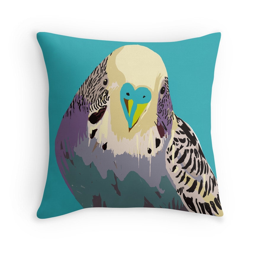 Decorative Pillows With Bird Design : Budgie Throw Pillow Bird pillow Cushion Cover by LOUDdecor on Etsy
