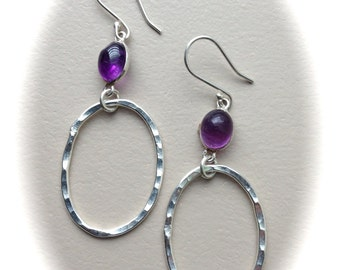 Silver Hammered Hoops and Amethyst