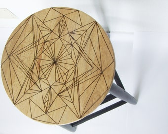 Design and contemporary wooden black bar stool geometric patterns.