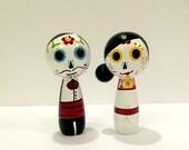 Sugar Skull Day of the Dead Wedding Couple Wood Peg Dolls - Cake Topper