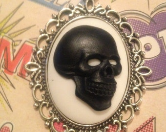 Black and White Skull Cameo Necklace