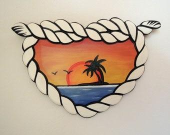 Rope Frame in Heart Shape, Island Sunset, Old School, Handmade