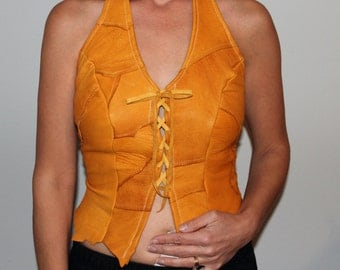 Boho/Gypsy/Hippy Style Deer skin leather halter top
