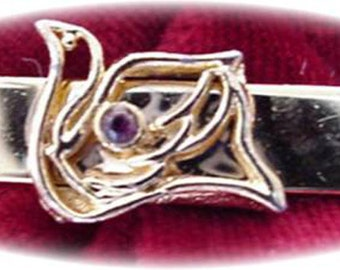 Tie Clasp with Bird and Center Purple Stone