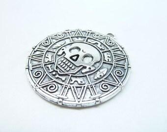 4pcs- Antique Tibetan silver Aztec Charm, Pirates of the Caribbean charm pendants, Aztec Gold Coin 40mm C7188